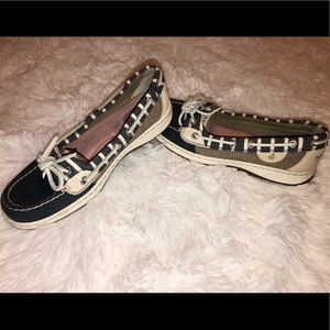 Sperry Top Sider Boat Shoes Navy & Tan Women's 6.5